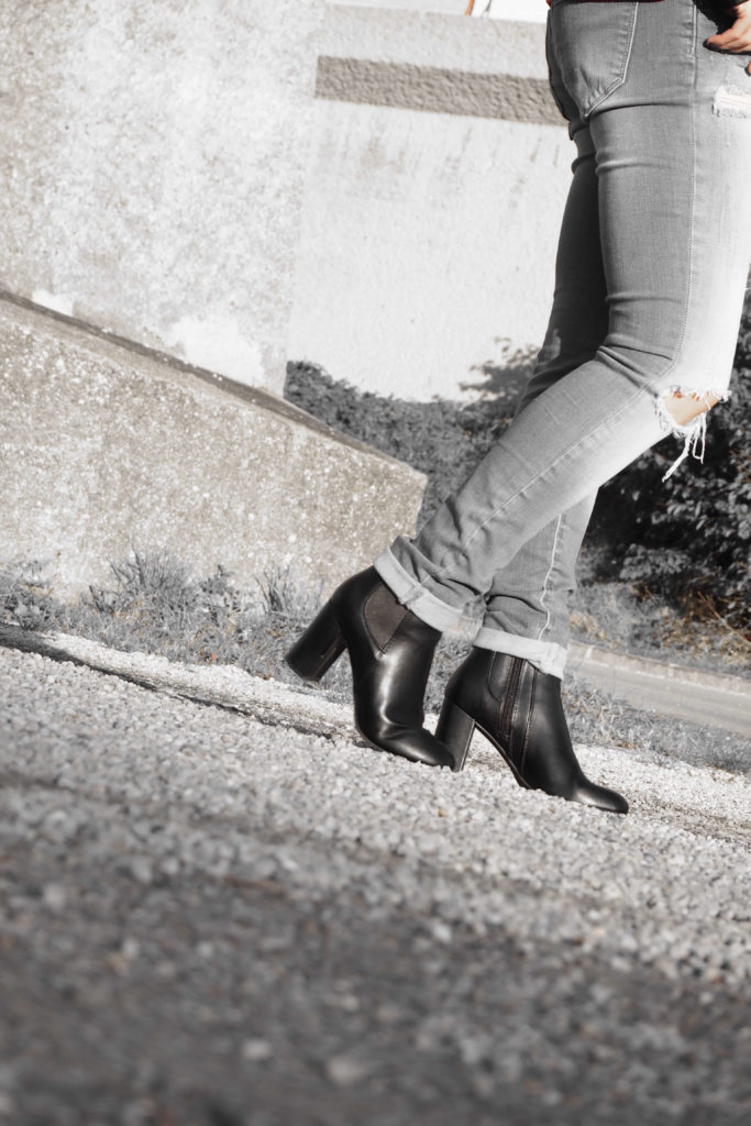Blockabsatz Boots Outfit