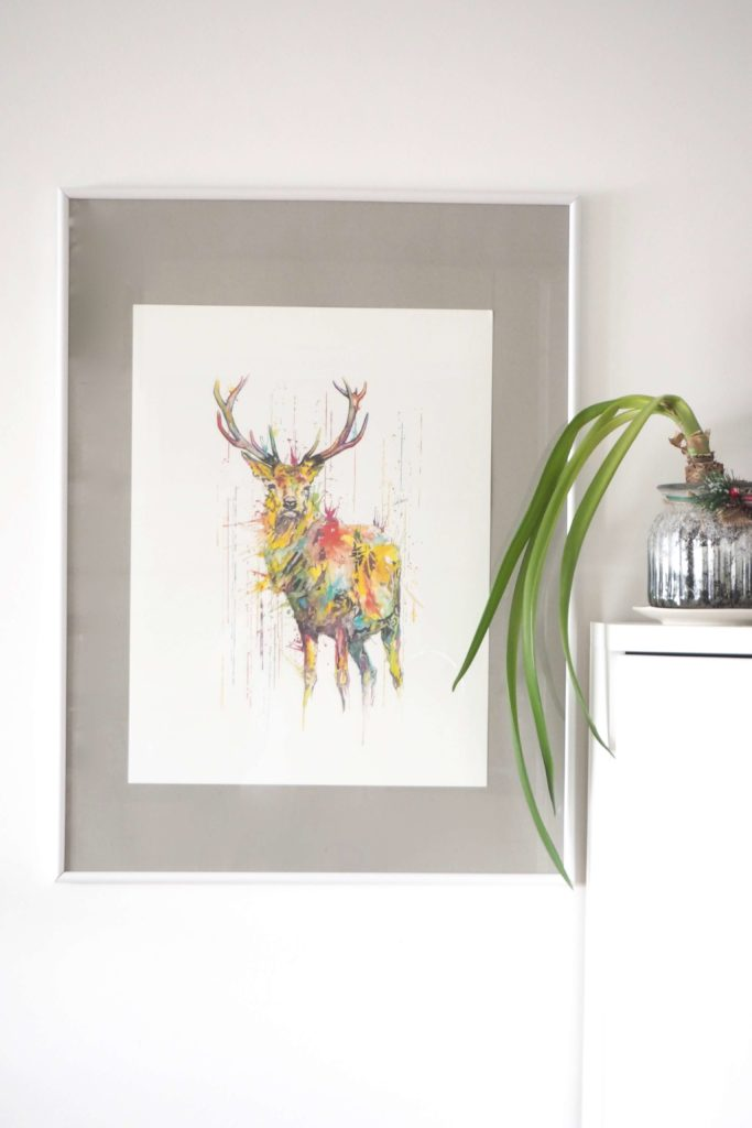 Deer RAINING COLOURS Giclée Print on Watercolour Paper by Philipp Grein