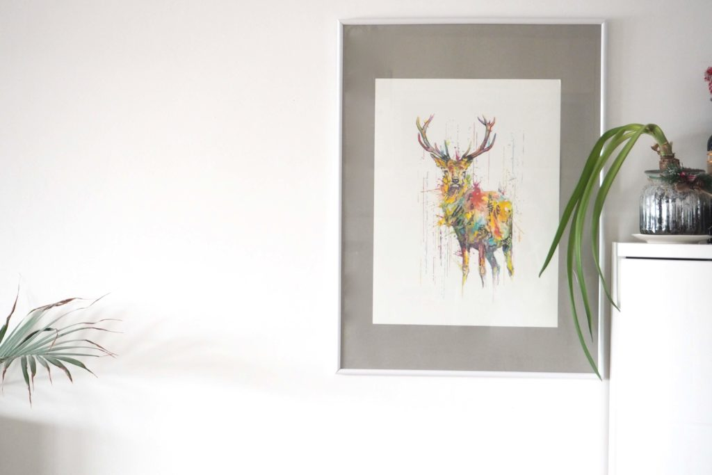 Winter-Deko DEER- RAINING COLOURS Giclée Print on Watercolour Paper by Philipp Grein