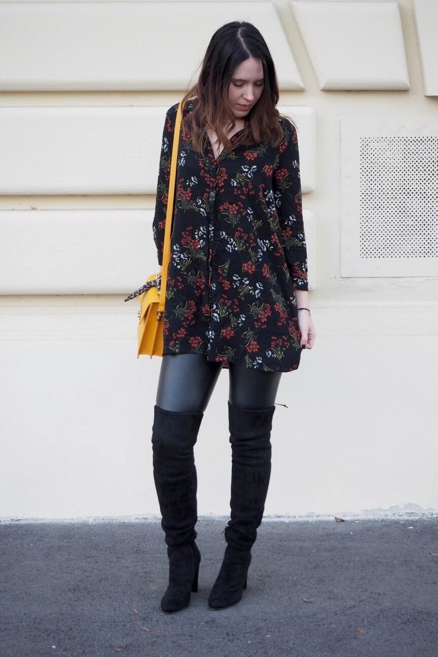 Dark floral print dress and Overknees