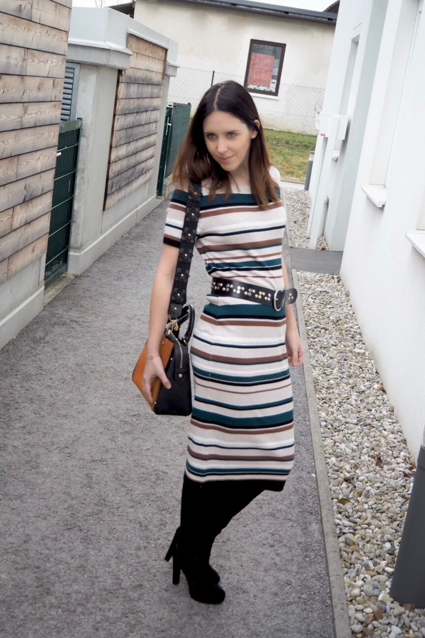Bold Stripes Comma Maxikleid