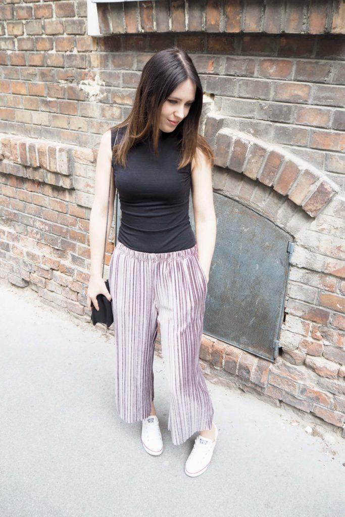 Wide leg pants Plissee Culotte Samt