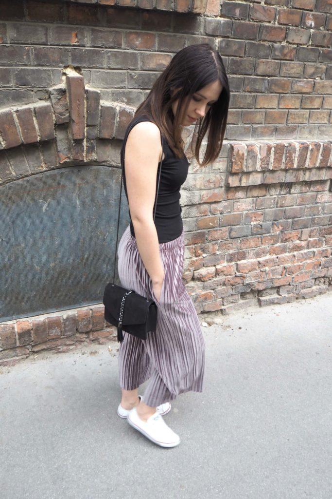 Wide leg pants Samt Plissee Culotte