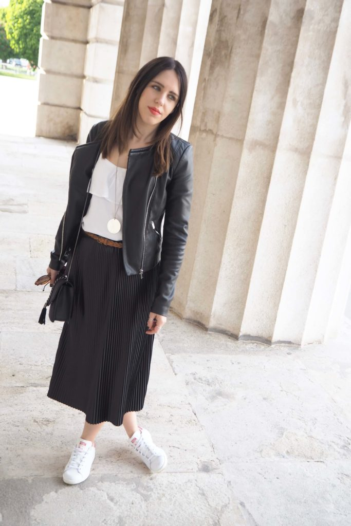 Pleated Skirt & Stan Smith Sneakers