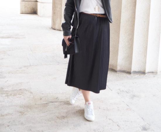 Plissee Pleated Midi Skirt