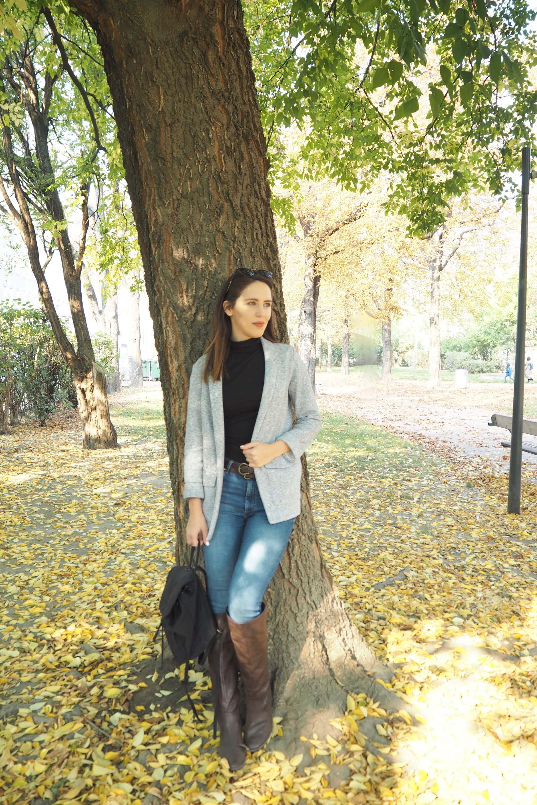 Herbstoutfit mit Stoffblazer