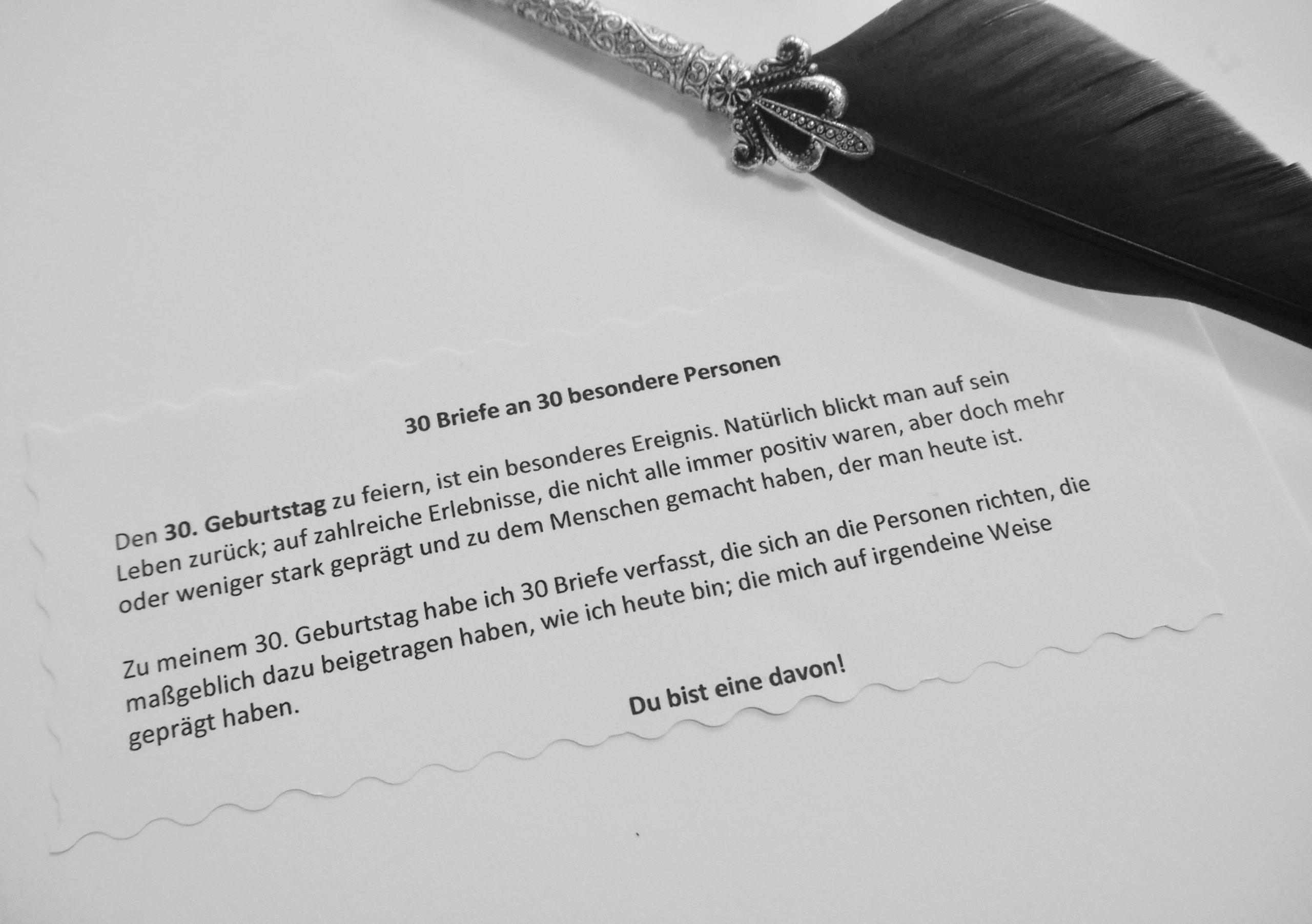 30 Briefe an 30 besondere Personen Aktion