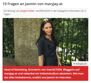 10 Fragen an Jasmin von MaryJay